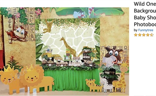 Sleepover Ideas: Safari and Slumber safari photo backdrop with safari animals