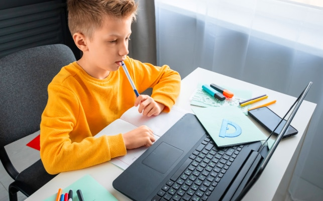 Is K12 Homeschooling middle school boy working on laptop for virtual school at home