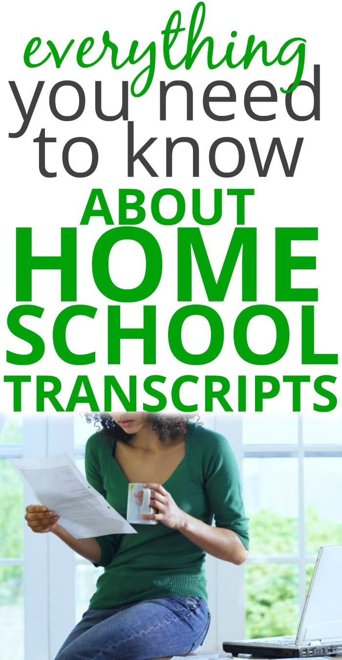 Creating Homeschool Transcripts and Templates for High School text with image of woman sitting on desk and looking at a piece of paper