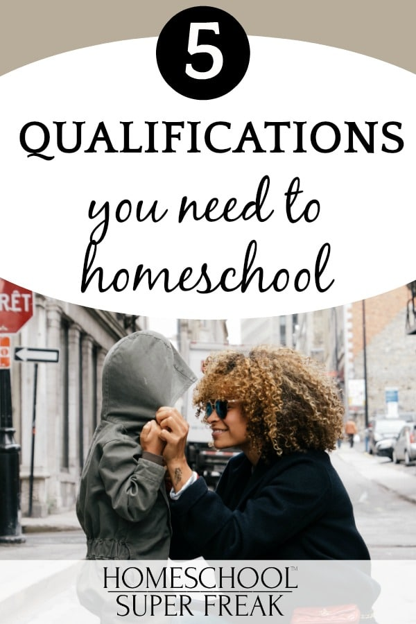 What are the qualifications to homeschool? text and a smiling African American mother squatting down and pulling a coat hood on a child's head