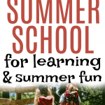 Summer School At Home Ideas and Activities two kids walking in a park with backpacks