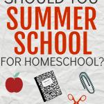 Summer School At Home Schedule over clipart of school supplies
