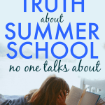 truth about summer school text over a child lying in bed and reading a school book during the summer next to a window