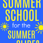Summer Slide Activities for Summer School text on a blue background with a playground slide