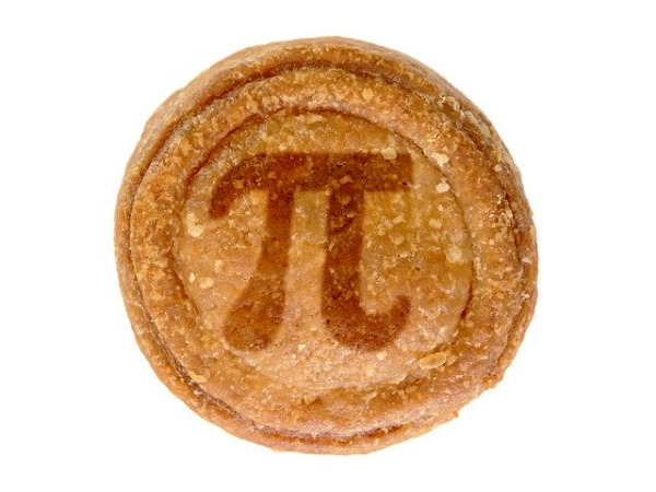 Activities for Pi Day top of a brown pie crust with the greek symbol for pie baked into the top