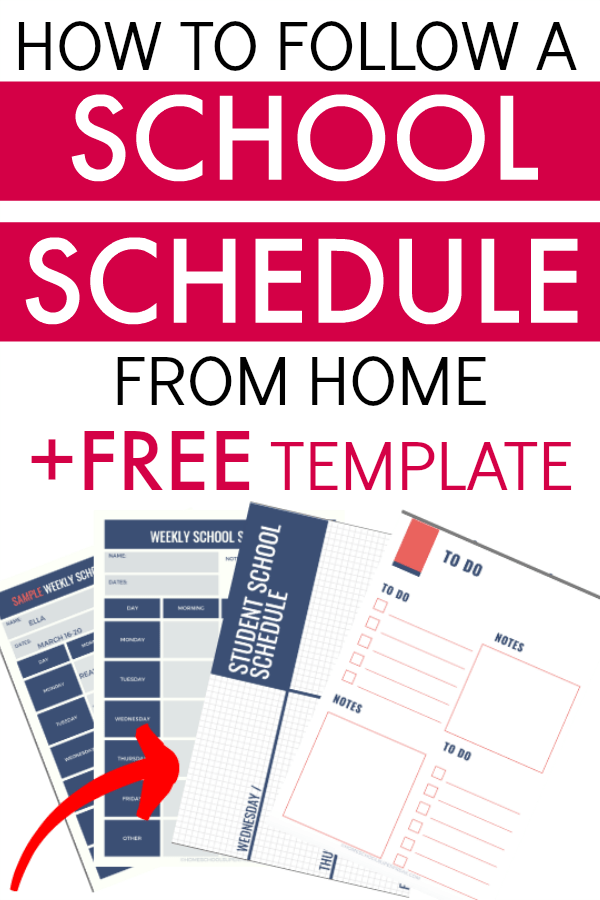 School Schedule at Home and Free School Schedule Template Printable