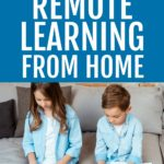 REMOTE LEARNING FROM HOME text overlay over a caucasian boy and girl sitting on a couch working on a laptop and school work