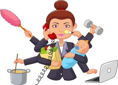Trying to balance life all the time cartoon woman with many arms taking care of many different things like housework, holding a baby, and working on a computer