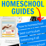 HOMESCHOOL GUIDES text over a collage of homeschool guides on how to homeschool, balance life, best homeschool materials and emergency school at home