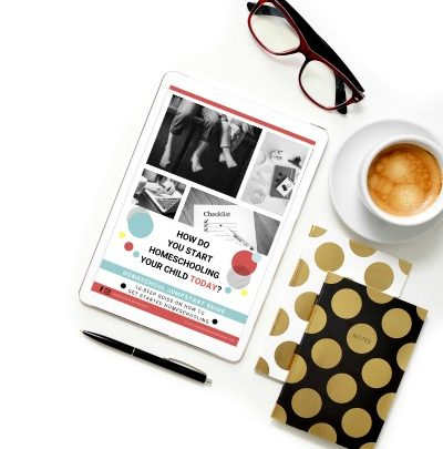 How to Home school guide on ipad laying on a table with coffee, a notebook, and eye glasses by it