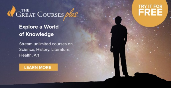 Great Courses Plus text with shadow of a person staring off into galaxy