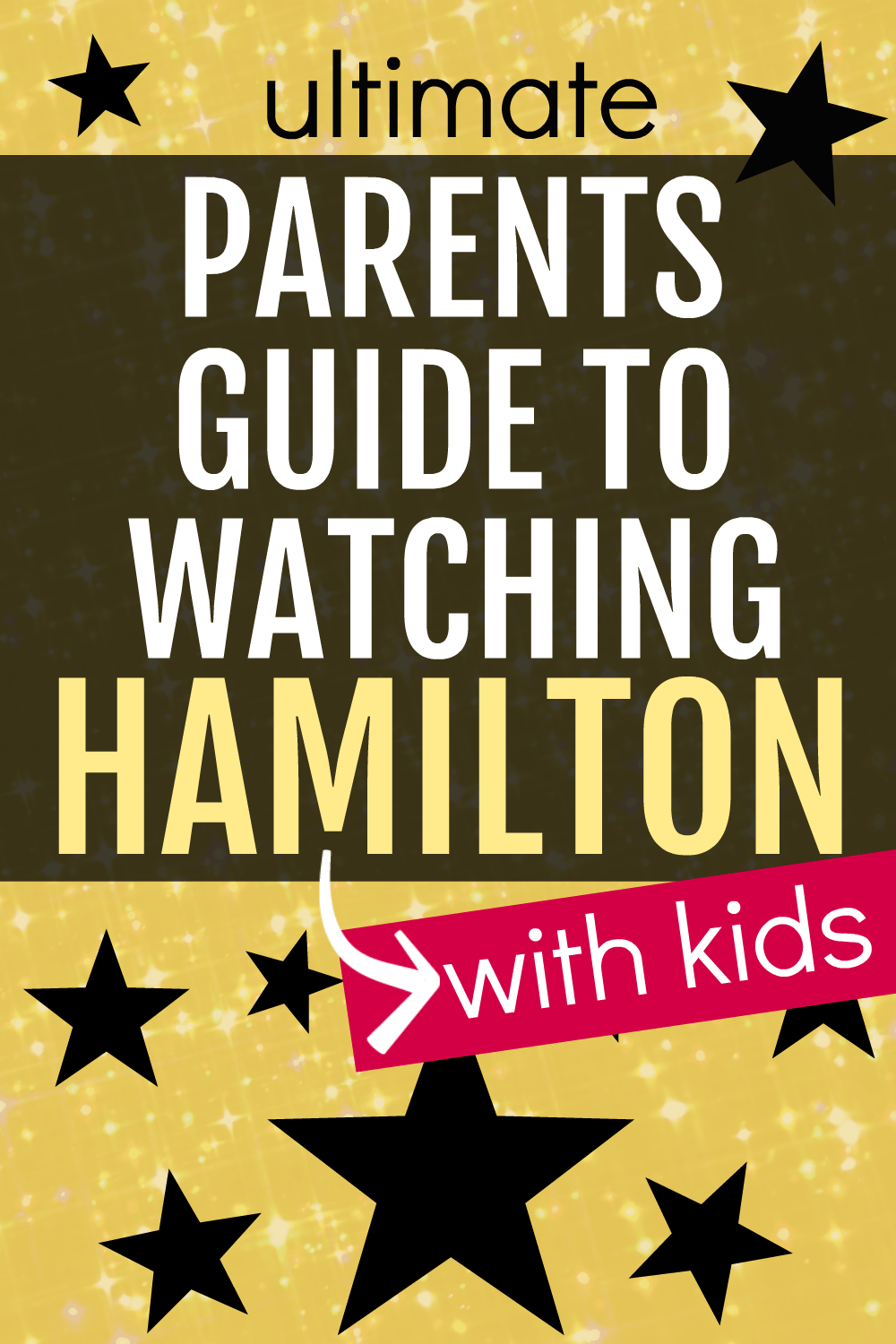 Parents Guide to Watching Hamilton with Kids text over a yellow background with black stars