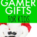 CHEAP GAMER CHRISTMAS GIFTS FOR KIDS text over picture of santa's hands with a video game controller