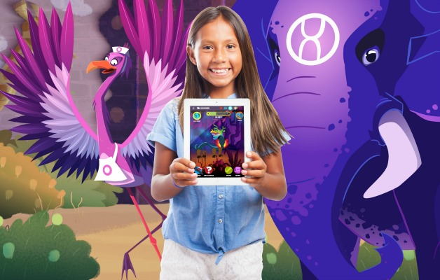tween girl holding an iPad with colorful Night Zookeeper game on it and magnified behind her with cartoon animals