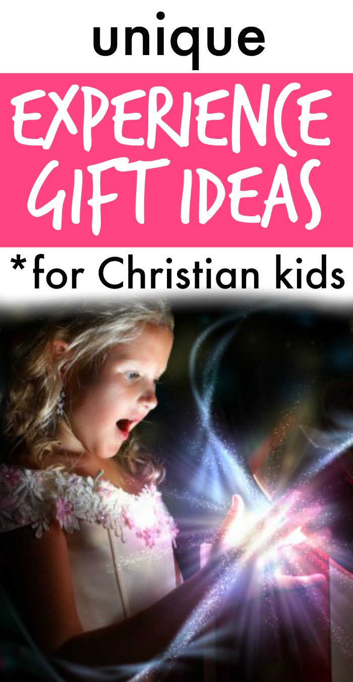 GIFTS FOR CHRISTIAN KIDS text with surprised girl looking into gift box