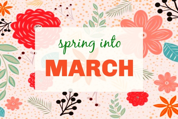 Kid Activities For March text over colorful drawings of flowers and leaves