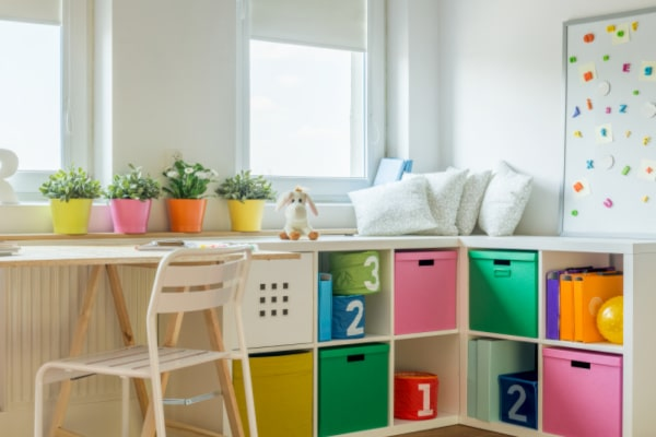 homeschool room essentials: bedroom study area ideas with desk and storage cubbies