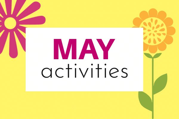 Activities for May for Kids with cartoon flower cutouts