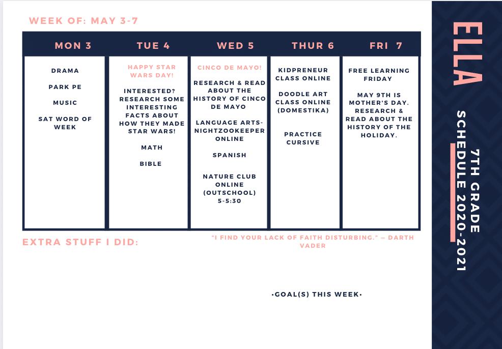 Eclectic Homeschooling Schedule Example