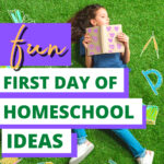 Back to homeschool ideas text over image of student laying in grass with hand drawn school supplies around her