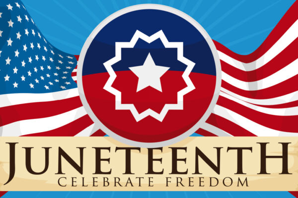 Juneteenth for Kids Activities with red white blue Juneteenth flag in the background