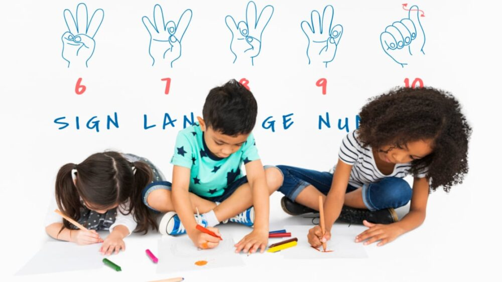 ASL Language Lessons for Kids coloring with sign language chart behind them