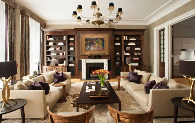 Wonderful Brown Living Room With Gorgeous Large Teak Wooden Cabinet Also Energizing Fireplace Elegant Desk
