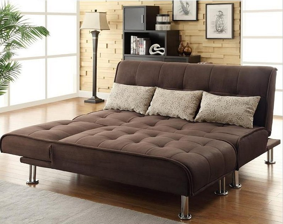 What Is A Sleeper Sofa HomesFeed Brown Tufted Queen Sleeper Sofa With Some  Pillow And Standing