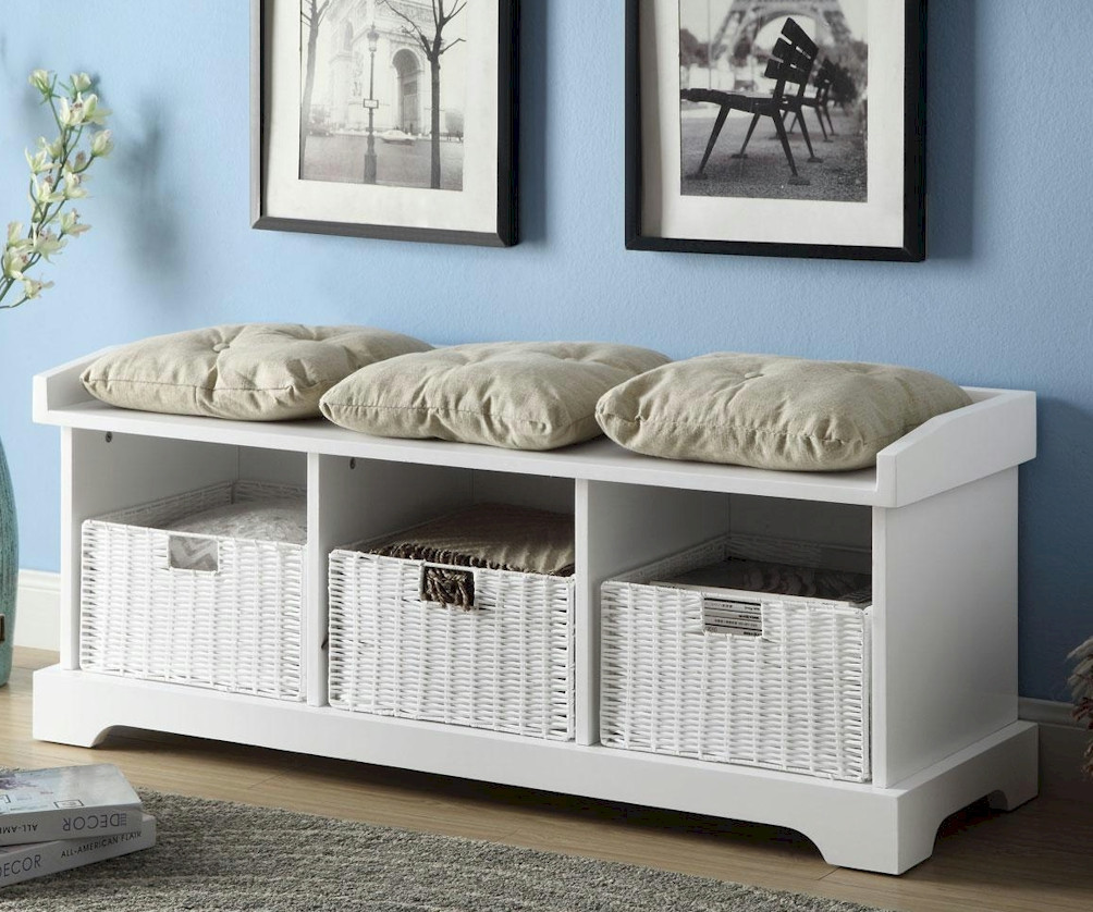 White Wood Storage Bench Practical And Doubled Functional