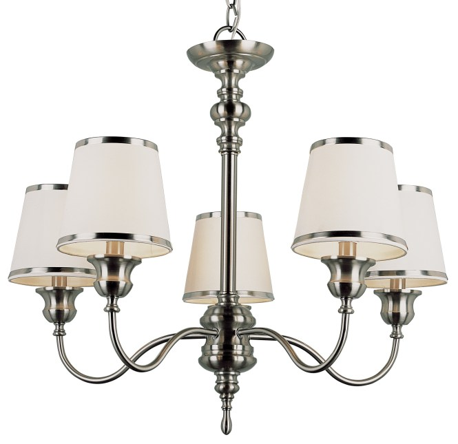 Silver Accent Of Small Chandelier With White Shade