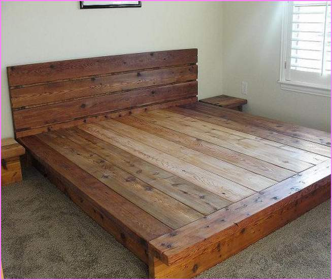 Solid Wood King Platform Bed Furniture With Headboard A Pair Of Small Bedside Tables