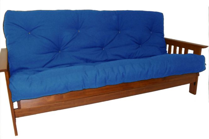 Bright Navy Blue Futon Pad For Darker Coated Wooden Bench With Armrest And Back