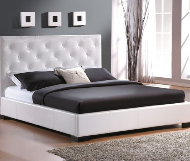 Modern Bedroom Ideas With Modern King Size Bed Frame Plus White Tufted Headboard Plus Grey Rug