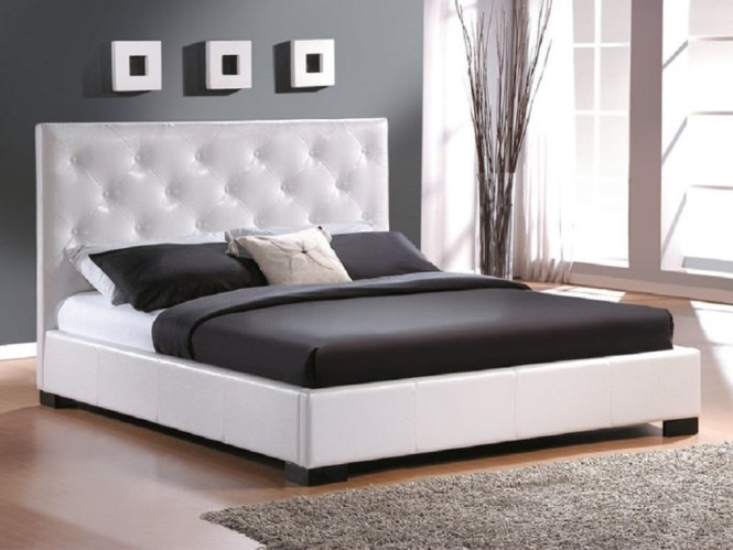 Modern Bedroom Ideas With King Size Bed Frame Plus White Tufted Headboard Grey Rug