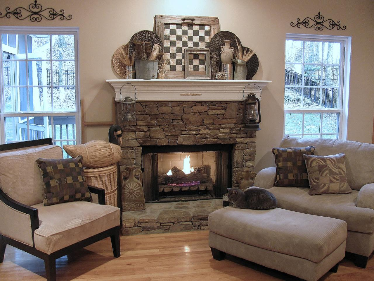 Rustic Mantel D    cor That Will Adorn Your Bored to Death Mantel     rustic mantel decor made of stone decorated with cozy armchairs plus comfy  single couch completed with