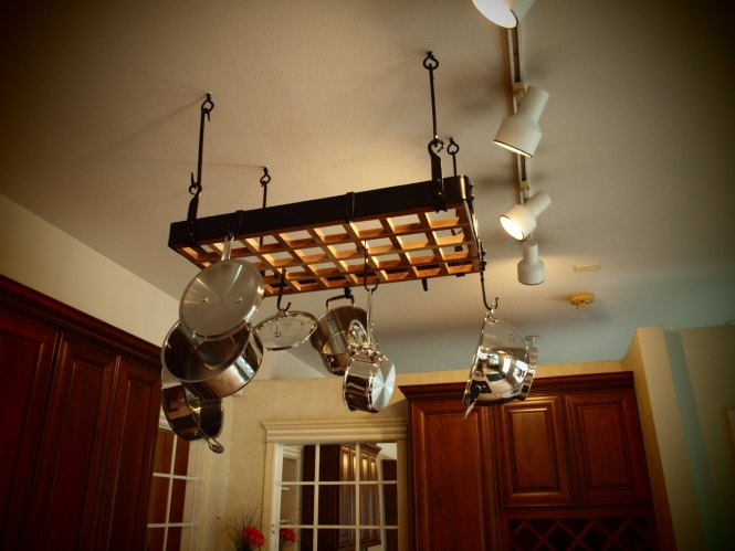 Simple And Gorgeous With Track Lighting Fixture Plus Stainless Steel Kitchen Stuff Pu Stylish Pot Rack