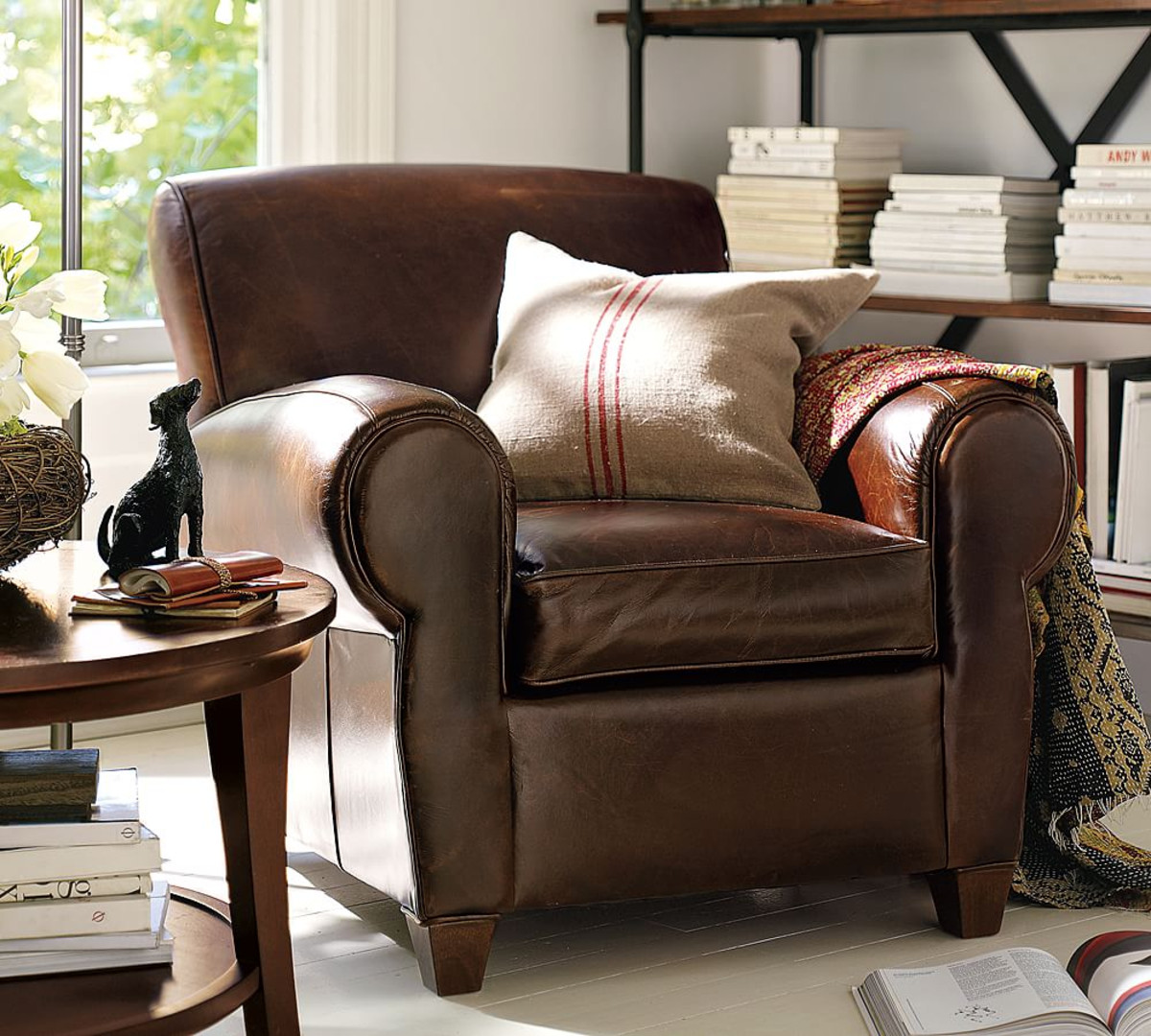 Brown Leather Storage Ottoman