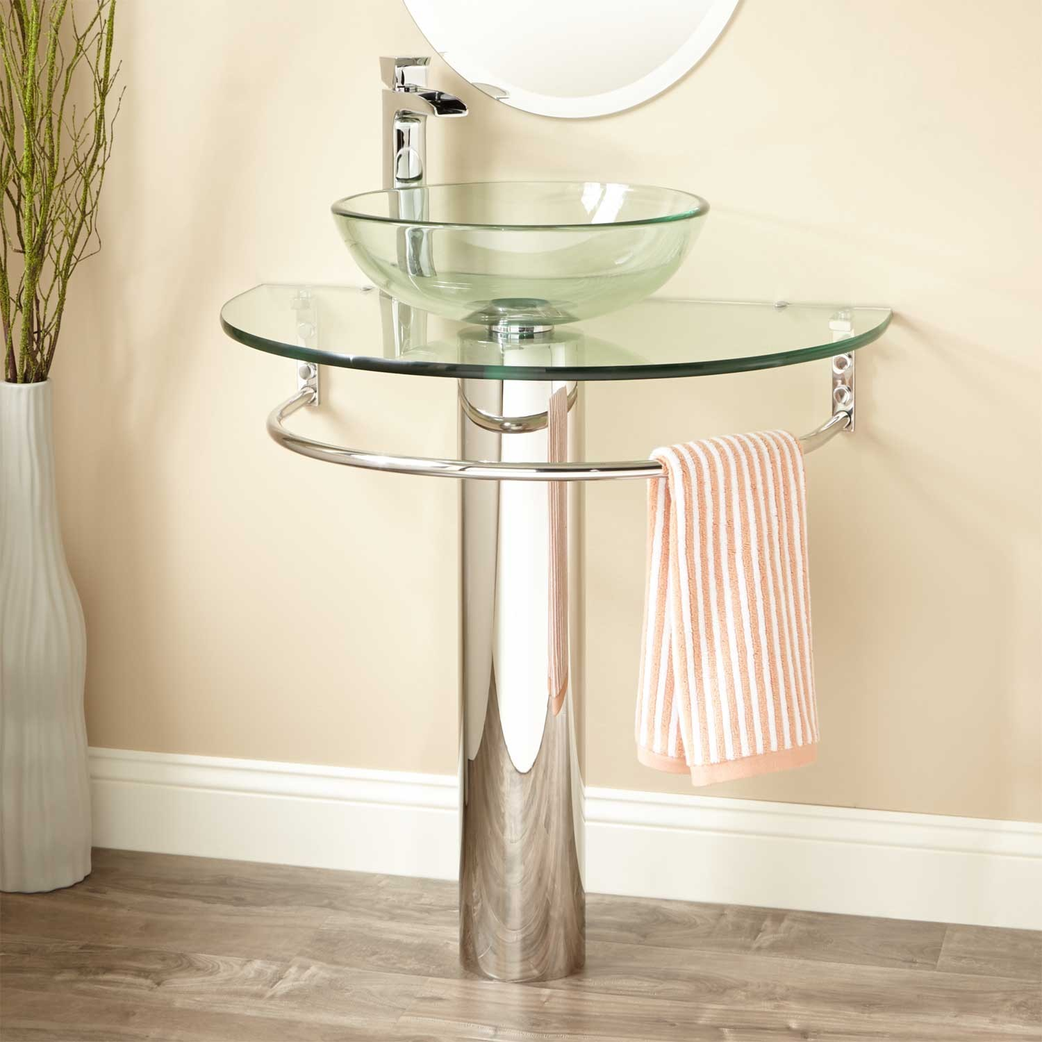 Modern Pedestal Sink With Towel Bar