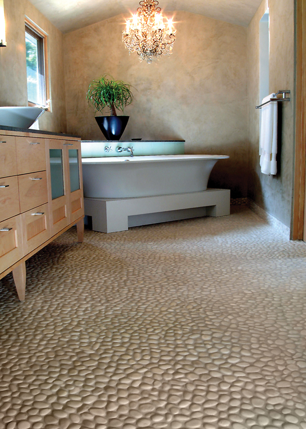Beach Pebble Tile Floor