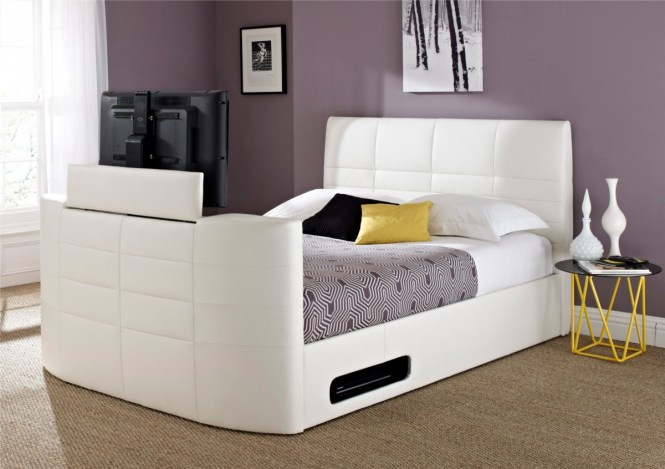 White Modern Beds With Built In Tv Storage And Unique Round Small Side Table