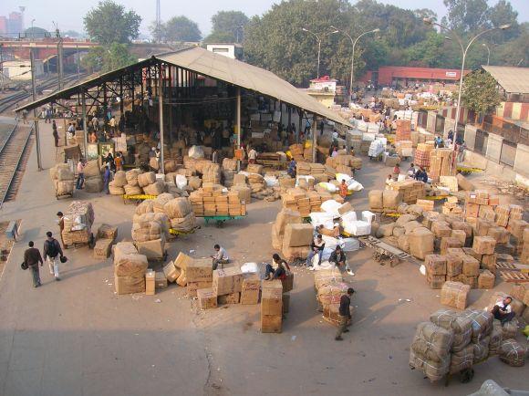 Delhi central station mail sorting area