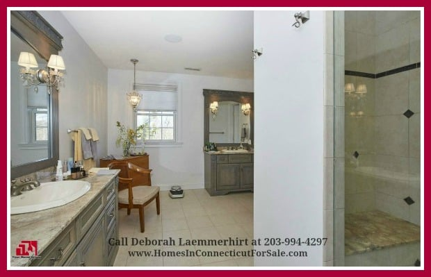 Be ready to be captivated when you see the beautiful and large master bathroom of this Red Fox Crossing 6 bedroom luxury home for sale in New Fairfield CT.