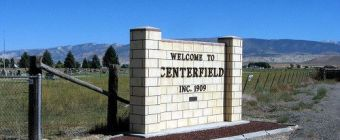 The Centerfield City Utah Welcome sign