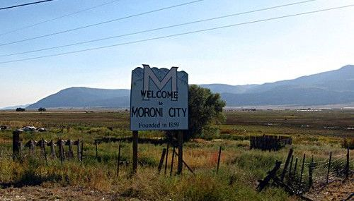 The sign coming into Moroni Utah