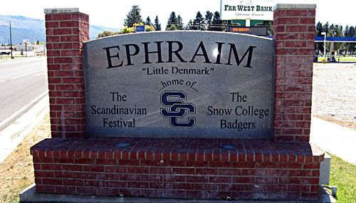 The city sign of Ephraim Utah in Sanpete County.