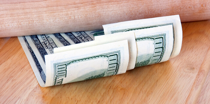 Hundred dollar bills to show increases in rent.