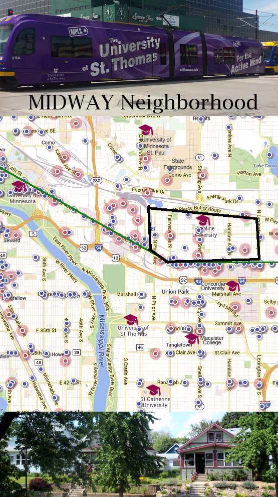 Midway Neighborhood    midway between Minneapolis  St  Paul  and a     As you can see from all the dots on the map  this is a highly walkable  neighborhood    blue dots signify restaurants coffee shops and pink dots  signify