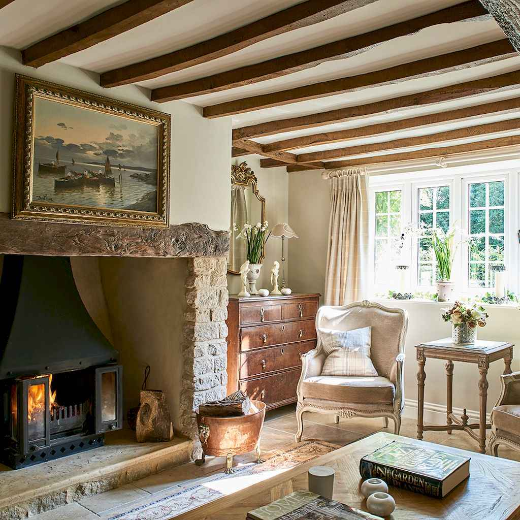 Fancy french country living room decorating ideas (14)