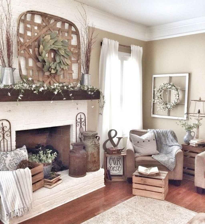 Rustic farmhouse living room design and decor ideas (56)