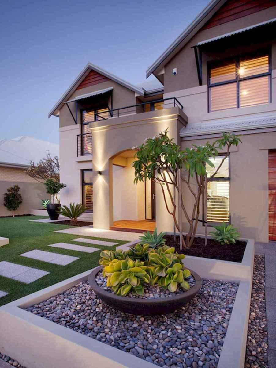 Simple clean modern front yard landscaping ideas (47)